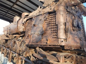 This is a train riddled with 1,020 bullet holes. derailed and forgotten after being bombed in the Korean War